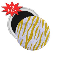 Skin3 White Marble & Yellow Denim (r) 2 25  Magnets (10 Pack)  by trendistuff