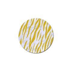 Skin3 White Marble & Yellow Denim (r) Golf Ball Marker (4 Pack) by trendistuff