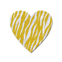 Skin3 White Marble & Yellow Denim Heart Magnet by trendistuff