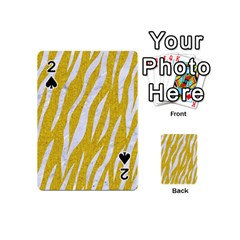 Skin3 White Marble & Yellow Denim Playing Cards 54 (mini)  by trendistuff