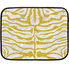 Skin2 White Marble & Yellow Denim (r) Fleece Blanket (mini) by trendistuff