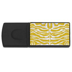 Skin2 White Marble & Yellow Denim Rectangular Usb Flash Drive