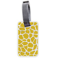 Skin1 White Marble & Yellow Denim (r) Luggage Tags (one Side)  by trendistuff