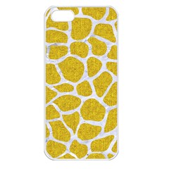 Skin1 White Marble & Yellow Denim (r) Apple Iphone 5 Seamless Case (white) by trendistuff