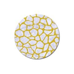 Skin1 White Marble & Yellow Denim Magnet 3  (round) by trendistuff