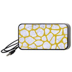 Skin1 White Marble & Yellow Denim Portable Speaker by trendistuff