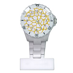 Skin1 White Marble & Yellow Denim Plastic Nurses Watch by trendistuff
