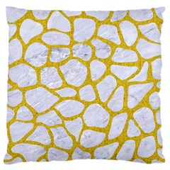 Skin1 White Marble & Yellow Denim Standard Flano Cushion Case (one Side) by trendistuff