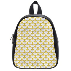 Scales3 White Marble & Yellow Denim (r) School Bag (small) by trendistuff