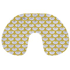 Scales3 White Marble & Yellow Denim (r) Travel Neck Pillows by trendistuff