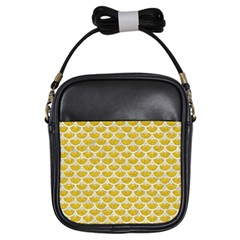 Scales3 White Marble & Yellow Denim Girls Sling Bags by trendistuff