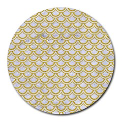 SCALES2 WHITE MARBLE & YELLOW DENIM (R) Round Mousepads