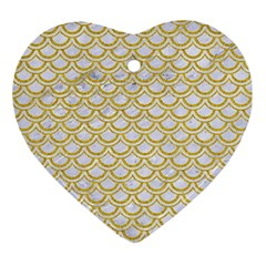 SCALES2 WHITE MARBLE & YELLOW DENIM (R) Ornament (Heart)