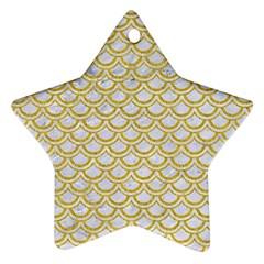 SCALES2 WHITE MARBLE & YELLOW DENIM (R) Ornament (Star)