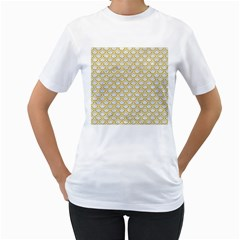 SCALES2 WHITE MARBLE & YELLOW DENIM (R) Women s T-Shirt (White) (Two Sided)