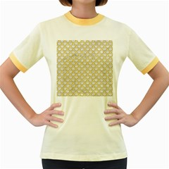 SCALES2 WHITE MARBLE & YELLOW DENIM (R) Women s Fitted Ringer T-Shirts
