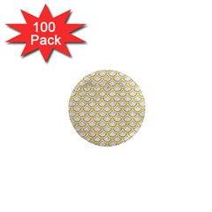 SCALES2 WHITE MARBLE & YELLOW DENIM (R) 1  Mini Magnets (100 pack)