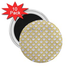 SCALES2 WHITE MARBLE & YELLOW DENIM (R) 2.25  Magnets (10 pack)