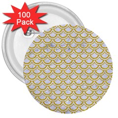 SCALES2 WHITE MARBLE & YELLOW DENIM (R) 3  Buttons (100 pack)