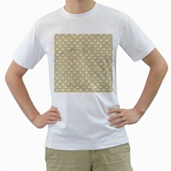SCALES2 WHITE MARBLE & YELLOW DENIM (R) Men s T-Shirt (White) (Two Sided)