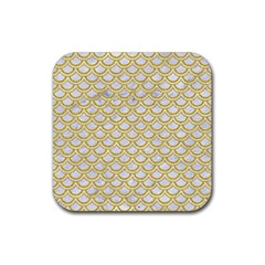 SCALES2 WHITE MARBLE & YELLOW DENIM (R) Rubber Square Coaster (4 pack)