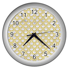 SCALES2 WHITE MARBLE & YELLOW DENIM (R) Wall Clocks (Silver)