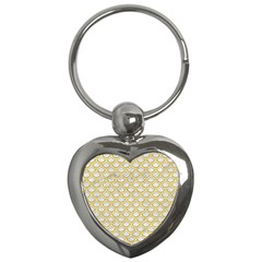 SCALES2 WHITE MARBLE & YELLOW DENIM (R) Key Chains (Heart)