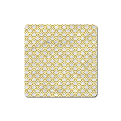 SCALES2 WHITE MARBLE & YELLOW DENIM (R) Square Magnet