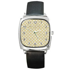 SCALES2 WHITE MARBLE & YELLOW DENIM (R) Square Metal Watch