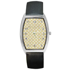 SCALES2 WHITE MARBLE & YELLOW DENIM (R) Barrel Style Metal Watch