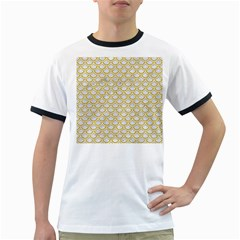 SCALES2 WHITE MARBLE & YELLOW DENIM (R) Ringer T-Shirts