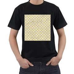 SCALES2 WHITE MARBLE & YELLOW DENIM (R) Men s T-Shirt (Black) (Two Sided)