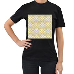 SCALES2 WHITE MARBLE & YELLOW DENIM (R) Women s T-Shirt (Black) (Two Sided)