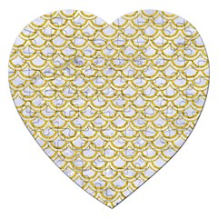 SCALES2 WHITE MARBLE & YELLOW DENIM (R) Jigsaw Puzzle (Heart)