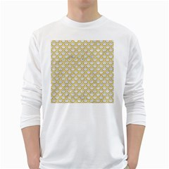 SCALES2 WHITE MARBLE & YELLOW DENIM (R) White Long Sleeve T-Shirts