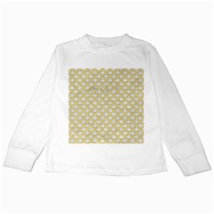 SCALES2 WHITE MARBLE & YELLOW DENIM (R) Kids Long Sleeve T-Shirts