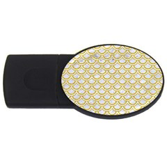 SCALES2 WHITE MARBLE & YELLOW DENIM (R) USB Flash Drive Oval (4 GB)