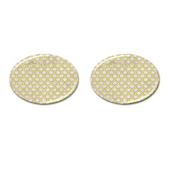 SCALES2 WHITE MARBLE & YELLOW DENIM (R) Cufflinks (Oval)