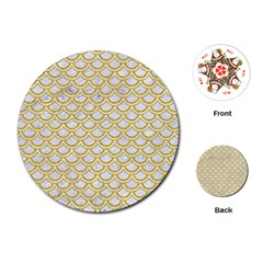 SCALES2 WHITE MARBLE & YELLOW DENIM (R) Playing Cards (Round)