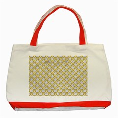 SCALES2 WHITE MARBLE & YELLOW DENIM (R) Classic Tote Bag (Red)