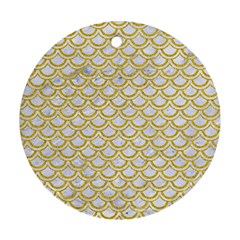 SCALES2 WHITE MARBLE & YELLOW DENIM (R) Round Ornament (Two Sides)