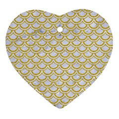 SCALES2 WHITE MARBLE & YELLOW DENIM (R) Heart Ornament (Two Sides)