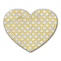 SCALES2 WHITE MARBLE & YELLOW DENIM (R) Heart Mousepads