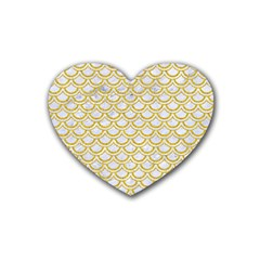 SCALES2 WHITE MARBLE & YELLOW DENIM (R) Rubber Coaster (Heart)