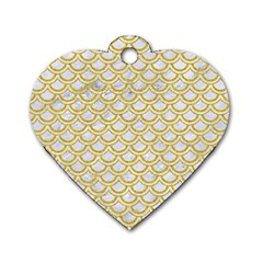 SCALES2 WHITE MARBLE & YELLOW DENIM (R) Dog Tag Heart (Two Sides)
