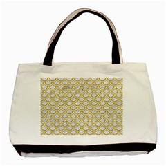 SCALES2 WHITE MARBLE & YELLOW DENIM (R) Basic Tote Bag (Two Sides)