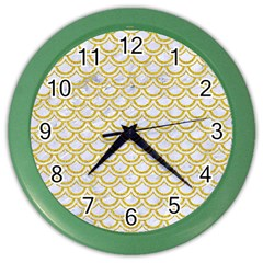 SCALES2 WHITE MARBLE & YELLOW DENIM (R) Color Wall Clocks