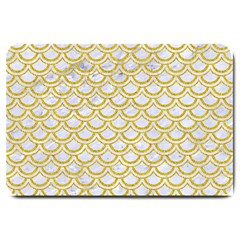 SCALES2 WHITE MARBLE & YELLOW DENIM (R) Large Doormat