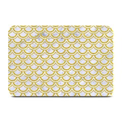 SCALES2 WHITE MARBLE & YELLOW DENIM (R) Plate Mats