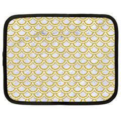 SCALES2 WHITE MARBLE & YELLOW DENIM (R) Netbook Case (Large)